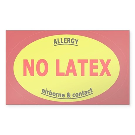 No Latex / Latex Allergy Sticker (Rectangle)