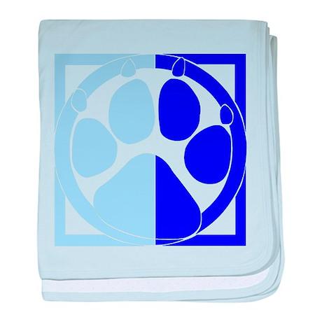 Blue Paw Print baby blanket