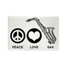 Peace Love Sax Rectangle Magnet