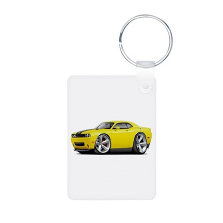 Challenger SRT8 Yellow Car Aluminum Photo Keychain