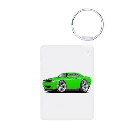 Challenger SRT8 Green Car Aluminum Photo Keychain