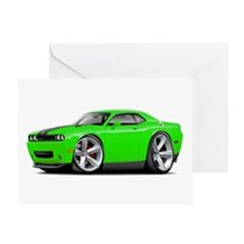 Challenger SRT8 Green Car Greeting Card