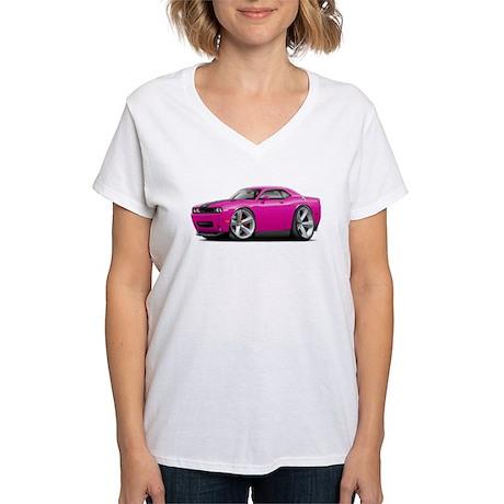Challenger SRT8 Fuschia Car Women's V-Neck T-Shirt