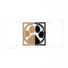 Tan Paw Print Aluminum License Plate