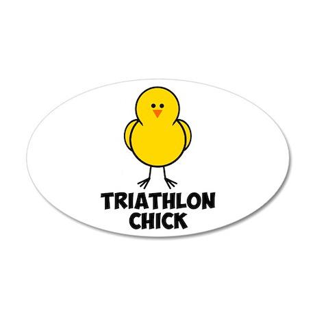 Triathlon Chick 38.5 x 24.5 Oval Wall Peel