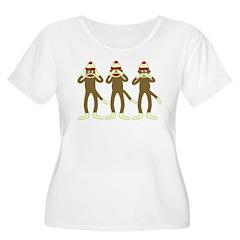 No Evil Sock Monkeys Women's Plus Size T-Shirt