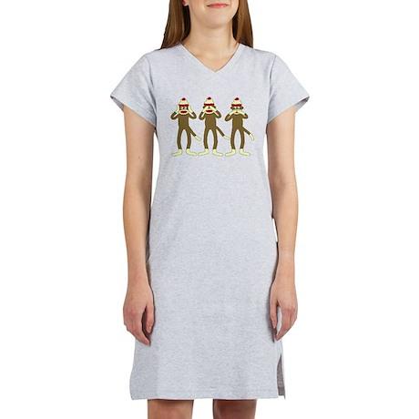 No Evil Sock Monkeys Women's Nightshirt