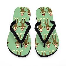 No Evil Sock Monkeys Flip Flops