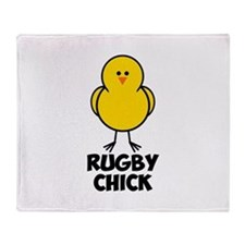 Rugby Chick Throw Blanket