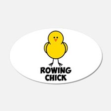 Rowing Chick 22x14 Oval Wall Peel
