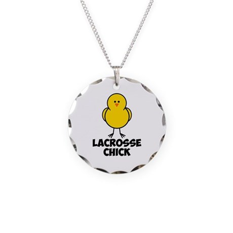 Lacrosse Chick Necklace Circle Charm