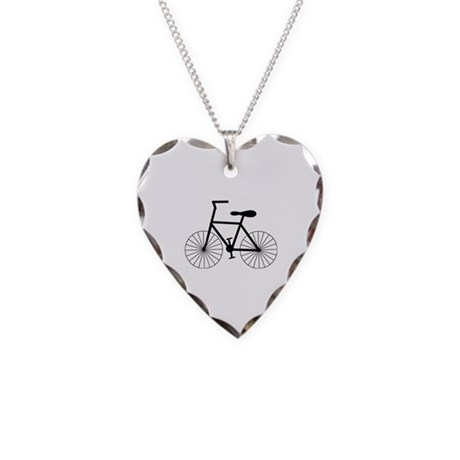 Cycling Design Necklace Heart Charm