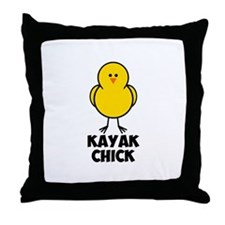 Kayak Chick Throw Pillow