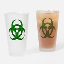 Distressed Green Biohazard Sy Drinking Glass