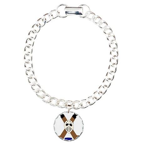 Ice Hockey Design Charm Bracelet, One Charm