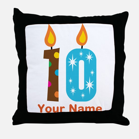 Custom 10th Birthday Candle Throw Pillow