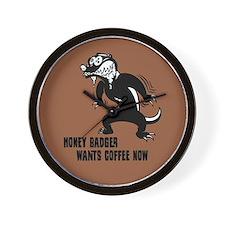Honey Badger Wants Coffee Wall Clock