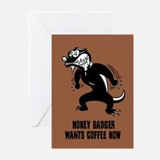 Honey Badger Wants Coffee Greeting Cards (Pk of 10