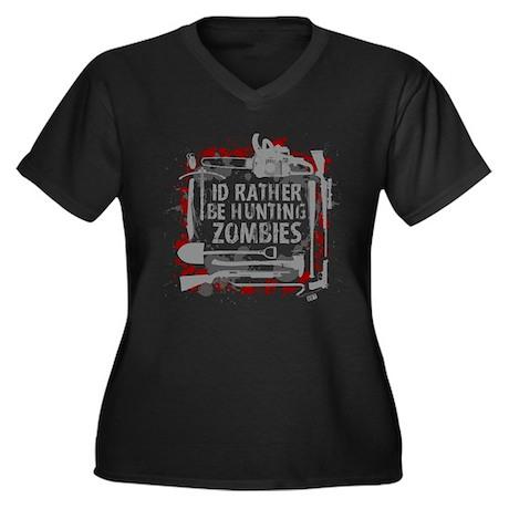 Hunting Zombies Women's Plus Size V-Neck Dark T-Sh