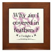 Why am I covered in feathers? Framed Tile