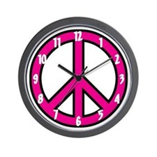 Pink Peace Sign Wall Clock