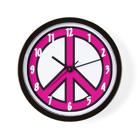 pink peace Wall Clock