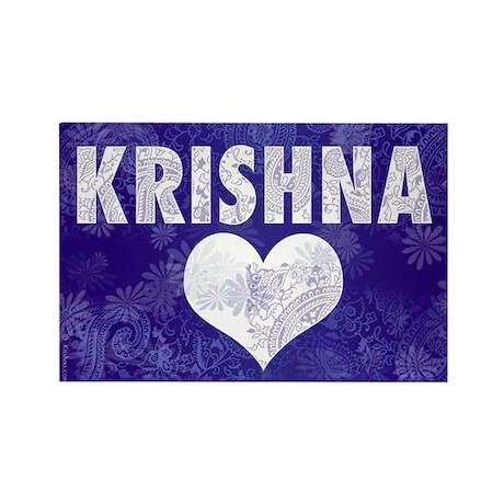Blue Krishna Rectangle Magnet