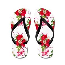 Red Rose Bouquet and Ribbon Flip Flops