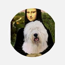 "Mona's Old English Sheepdog 3.5"" Button"