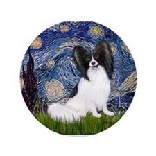"Starry Night Papillon 3.5"" Button"