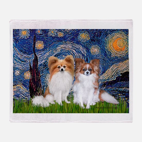 Starry Night & Papillon Throw Blanket
