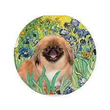 "Irises / Pekingese(r&w) 3.5"" Button"