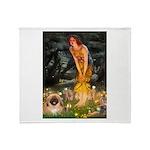 Fairies / Pekingese(r&w) Throw Blanket