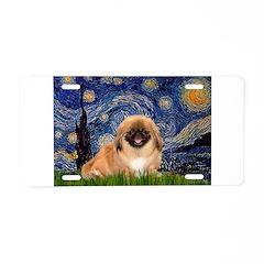 Starry / Pekingese(r&w) Aluminum License Plate
