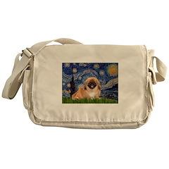 Starry / Pekingese(r&w) Messenger Bag