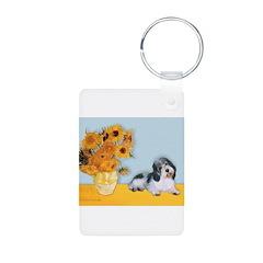 Sunflowers/PBGV Aluminum Photo Keychain