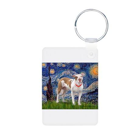 Starry Night Pitbull Aluminum Photo Keychain