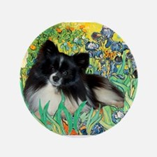 "Irises / Pomeranian(bb) 3.5"" Button"