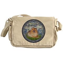 Lilies #6/Pomeranian #4 Messenger Bag