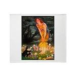 Fairies / Pomeranian (b&t) Throw Blanket