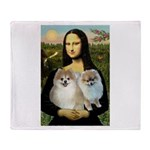 Mona/2 Pomeranians Throw Blanket