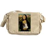 Mona / Pomeranian(r&w) Messenger Bag