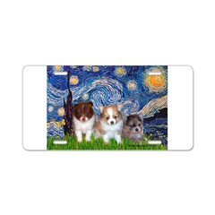 Starry Night /Pomeranian pups Aluminum License Pla