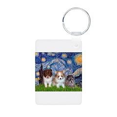 Starry Night /Pomeranian pups Keychains