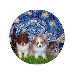 "Starry Night /Pomeranian pups 3.5"" Button"