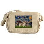 Starry Night /Pomeranian pups Messenger Bag