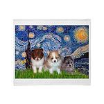 Starry Night /Pomeranian pups Throw Blanket