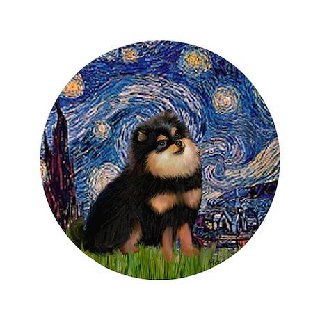 "Starry Night / Pomeranian(b&t) 3.5"" Button"