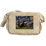 Starry Night / Pomeranian(b&t) Messenger Bag