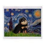 Starry Night / Pomeranian(b&t) Throw Blanket